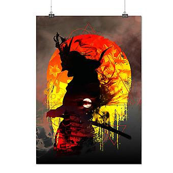 Matte or Glossy Poster with Samurai Moon Night Japan | Wellcoda | *d2760
