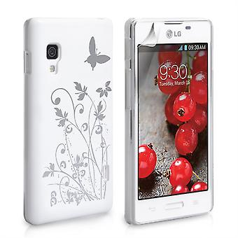 Yousave Accessories LG Optimus L5 II Butterfly Hard Case - White