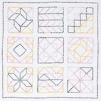 Sashiko World America Stamped Embroidery Kit-Farmer's Wife KSW-006E