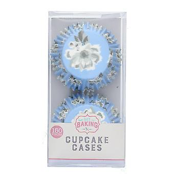 Pack of 150 Greaseproof Paper Blue Flowers Cupcake Baking Cases