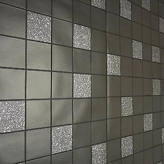 Holden Decor Black Grey Glitter Effect Granite Silver Tile on a Roll Wallpaper