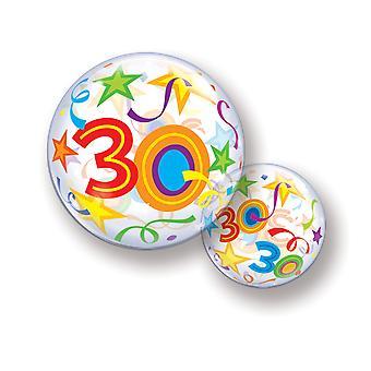 Ballon Bubble Kugel Zahl 30 Geburtstag für Helium und Luft  circa 55cm Ballon