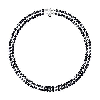 2 rows of pearls of freshwater black necklace