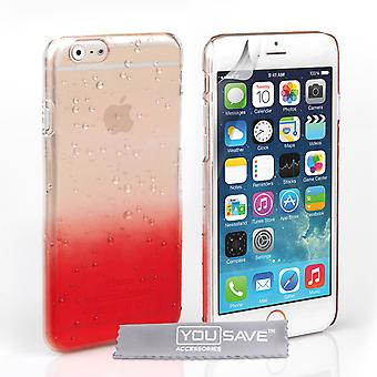 Yousave Accessories Iphone 6 And 6s Raindrop Hard Case - Red-Clear