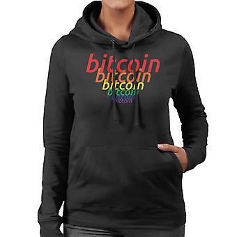 Bitcoin Rainbow Cascade Colour Logo Women's Hooded Sweatshirt