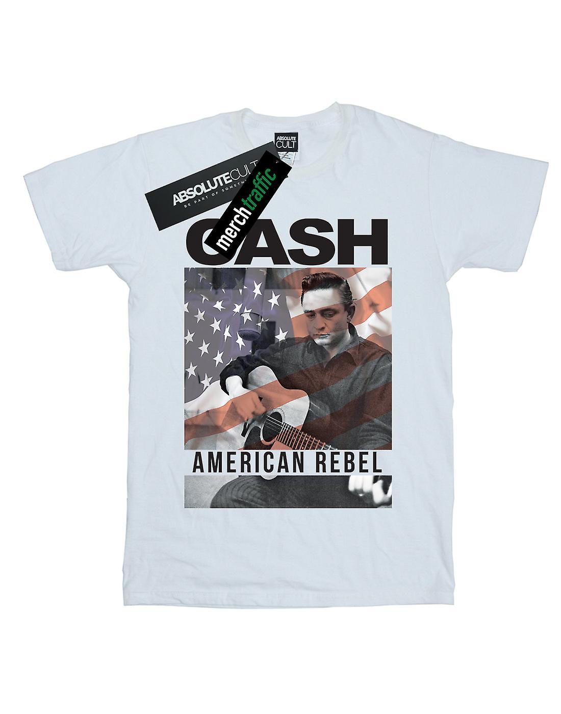 Johnny Cash Mädchen amerikanische Flagge Overlay T-Shirt