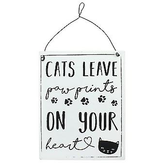 Something Different Cats Leave Paw Prints Metal Sign