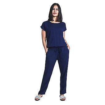 Ladies Jumpsuit with short sleeve - Blue All-in-one Playsuit