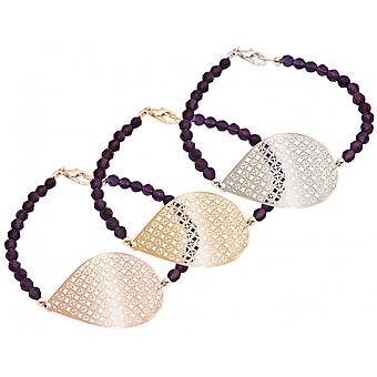 GEMSHINE ladies Bracelet: Yoga mandala and purple amethyst. Silver, gold plated or gold plated rose. Made in Munich, Germany. Delivered in a stylish case with gift wrapping.