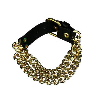 Double Row Curb Link Bracelet With Black Leather Clasp