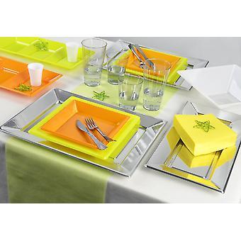 Partiet servise våren tema satt for 6 gjester 113-teilig party pakken oransje grønne partiet pakke