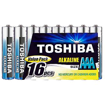 16 x TOSHIBA puissance supplémentaire AAA Micro piles alcalines LR03 1, 5V, 16er-Pack