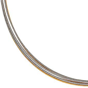 Choker 5 rows chokers stainless steel partly gold plated silver gold plated 45 cm