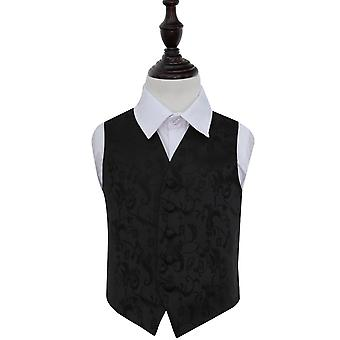 Black Floral Wedding Waistcoat for Boys