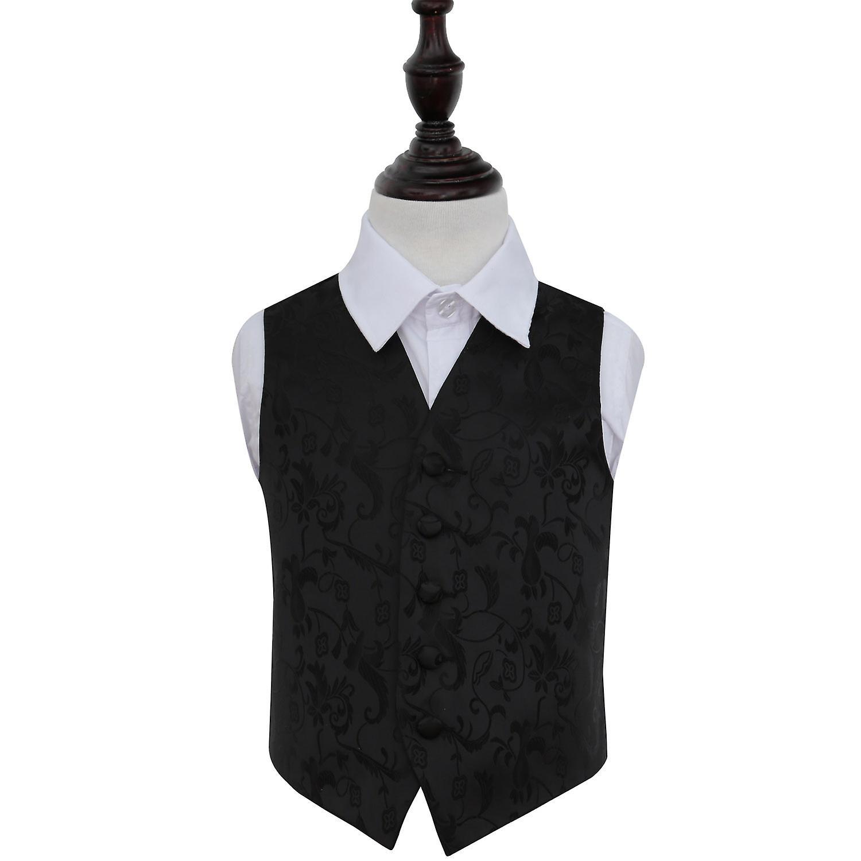 Black Floral Wedding Waistcoat for Boys