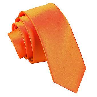 Burnt Orange platte satijnen mager gelijkspel