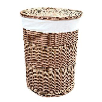Large Light Steamed Round Laundry Baskets with White Lining