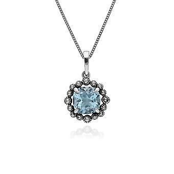 Gemondo Sterling Silver Blue Topaz & Marcasite Oval Art Nouveau 45cm Necklace