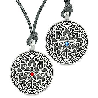 Pentagramm Sterne keltische Amulette lieben Paare oder beste Freunde rote blaue Kristalle verstellbare Ketten