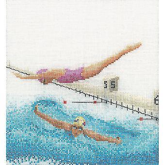 Swimming On Aida Counted Cross Stitch Kit-6.25