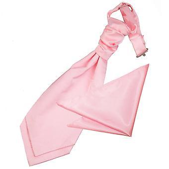 Baby roze platte satijnen bruiloft Cravat & zak plein voor jongens instellen