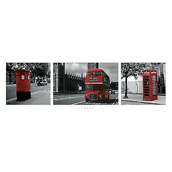 London Poster Red  Trio Kleinformat T�rposter