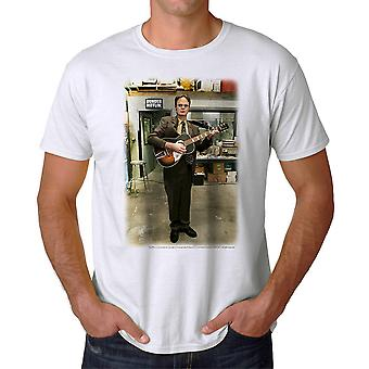 The Office Dwight Schrute Guitar Graphic Men's White T-shirt
