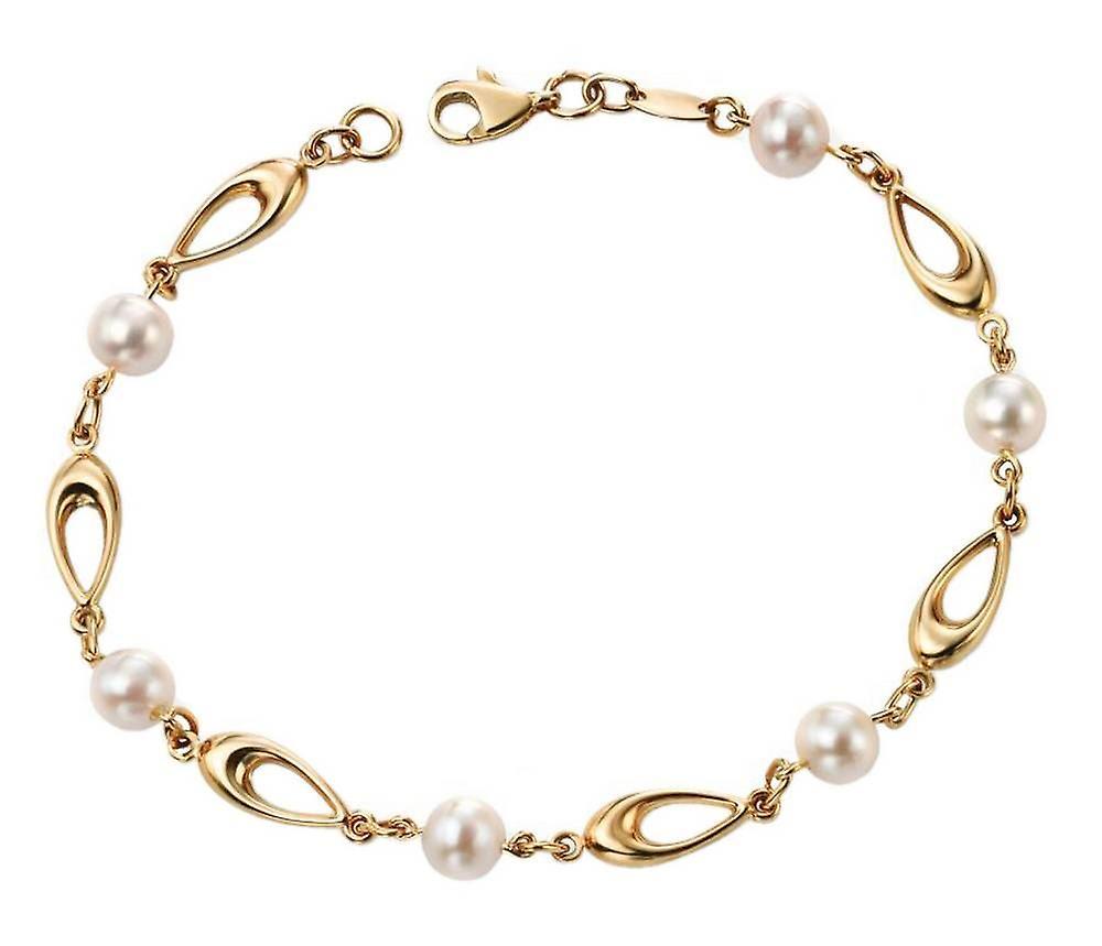 Elements or Freshwater Pearl Link Bracelet - or blanc