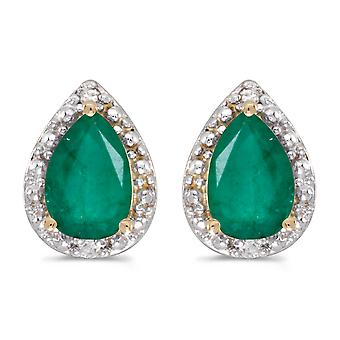 14k Yellow Gold Pear Emerald And Diamond Earrings