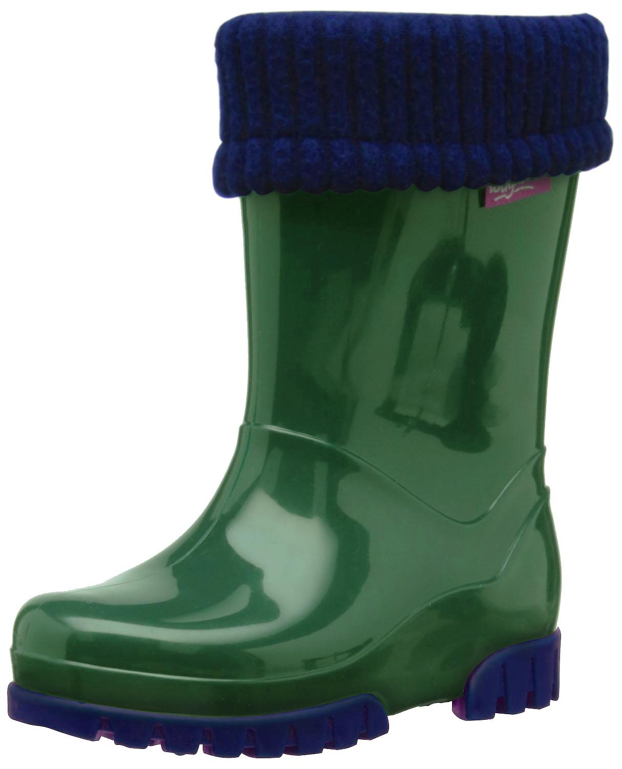 Toughees Removable Fleece Lined Green Wellingtons