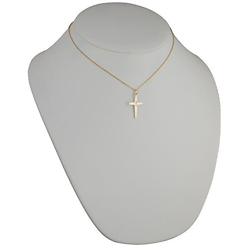 9ct Gold 25x17mm Diamond set Cross with Cable link chain