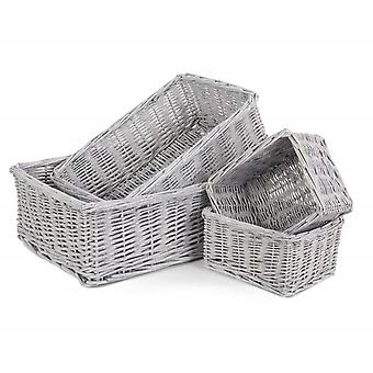 Set of 4 Grey Wash Wicker Trays