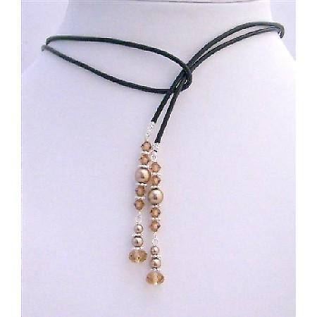 Handcrafted Lariat Necklace Bronze Pearls & Smoked Topaz Crystals