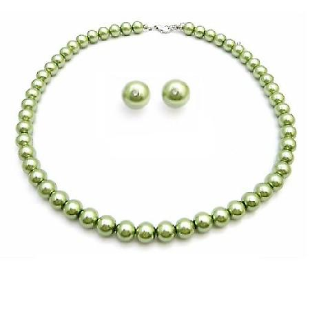 Inexpensive Peridot Jewelry Green Pearls Wedding Jewelry Set