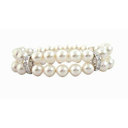 Double Stranded Swarovski 8mm White Pearls w/ Silver Rondells