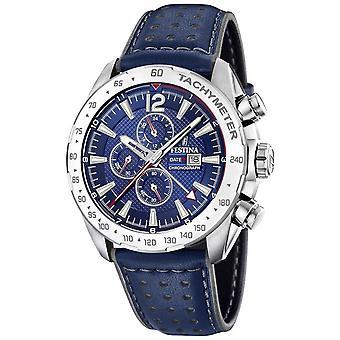 Festina | Mens Chronograph & hora Dual | Blue Dial | Relógio de F20440/2 de pulseira de couro