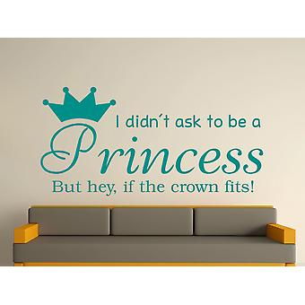 Being A Princess v2 Wall Art Sticker - Aqua Green