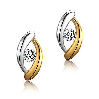 925 Sterling Silver Eye Shape Two Tones Aaaaa Cz Stud Earrings