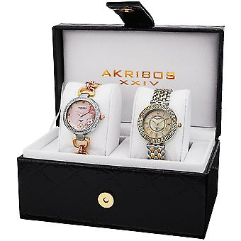 Akribos XXIV Women's AK886 Diamond Bracelet/Strap Watch Set AK886TT