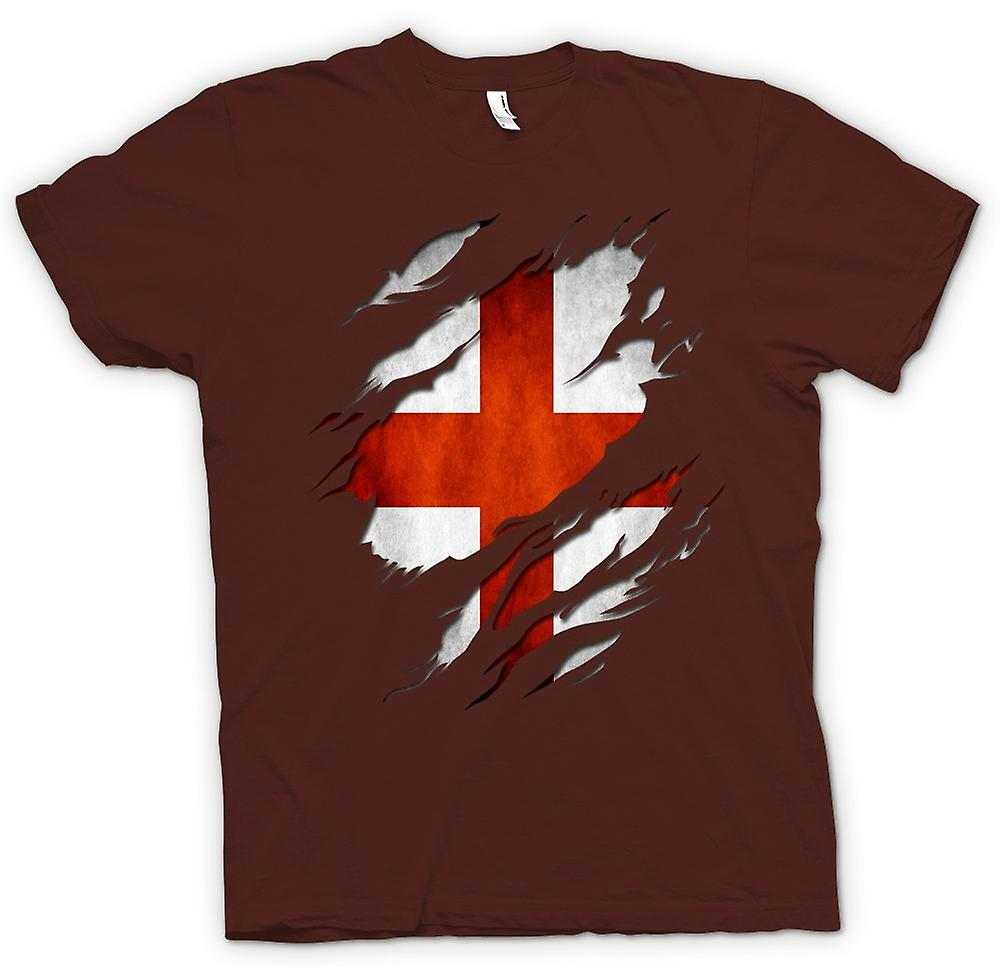 Mens t-shirt-St Georges English Flag strappato effetto