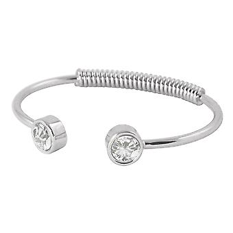 Eternal Collection Curiosity Clear Crystal Silver Tone Spring Torque Bangle