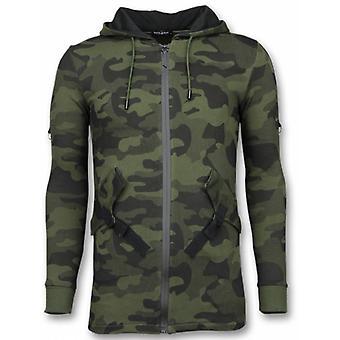 Casual Vest - Long Fit Camouflage Vest - Khaki