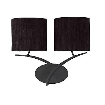 Mantra Eve Wall Lamp Switched 2 Light E27, Antracite With Black Oval Shades