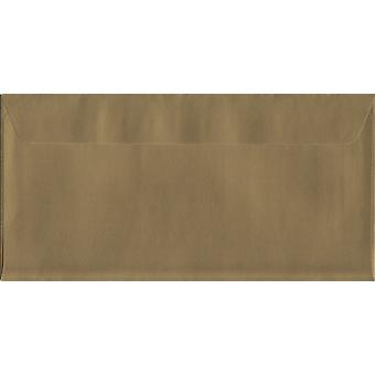 Metallic Gold Peel/Seal DL+ Coloured Gold Envelopes. 130gsm Luxury FSC Certified Paper. 114mm x 229mm. Wallet Style Envelope.