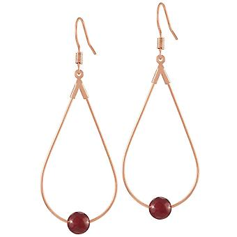 Eternal Collection Eclectic Ruby Red Agate Rose Gold Tone Drop Teardrop Pierced Earrings