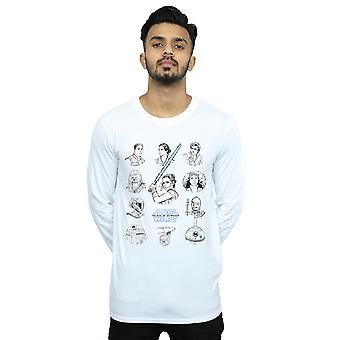 Star Wars The Rise Of Skywalker Resistance Character Lineup Mono Long Sleeved T-Shirt Men's