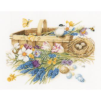 LanArte Spring Flowers On Aida Counted Cross Stitch Kit-15.5