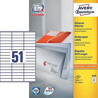 Avery Universal Labels, White 70x16,9mm Avery-Zweckform 3420