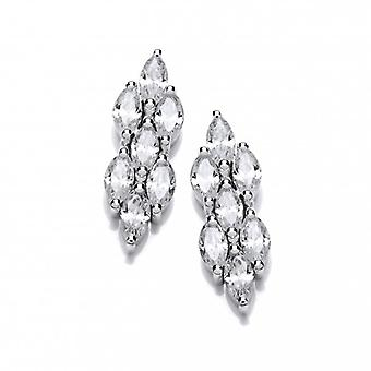 Cavendish French Cubic Zirconia Teardrop Cluster Earrings