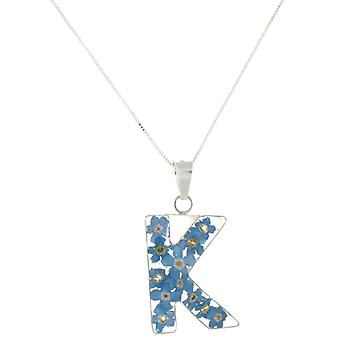 Shrieking Violet Sterling Silver Forget Me Not Flowers K Initial Pendant